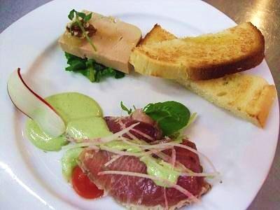 鮮魚のカルパッチョとフォアグラのテリーヌ